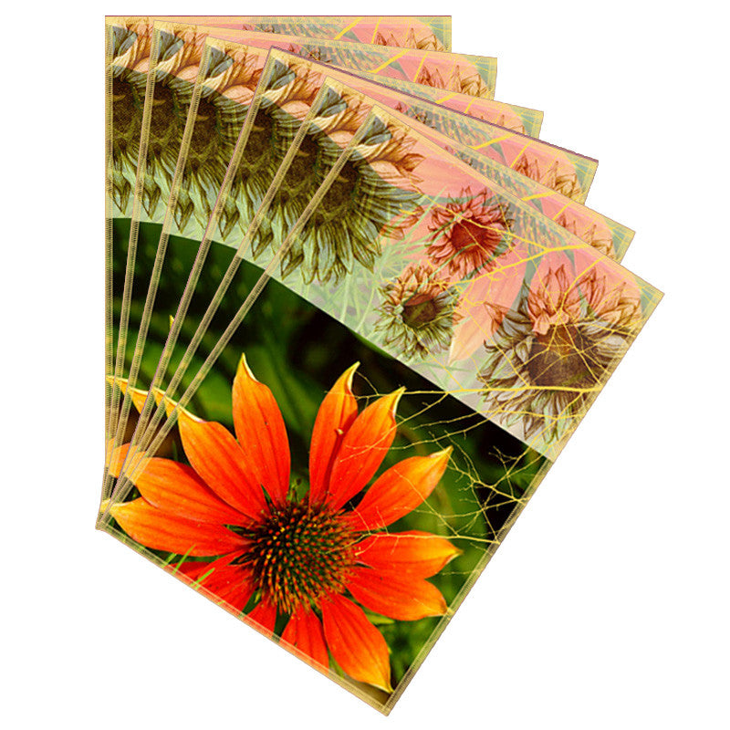 Leaf Designs Sketched Floral Orange Table Mat - Set of 6