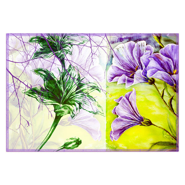 Leaf Designs Sketched Floral Purple Table Mat - Set of 6