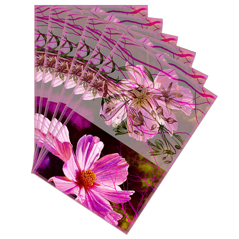 Leaf Designs Sketched Floral Purple Pink Table Mat - Set of 6