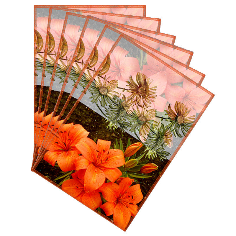 Leaf Designs Sketched Floral Orange & Dark Brown Table Mat - Set of 6
