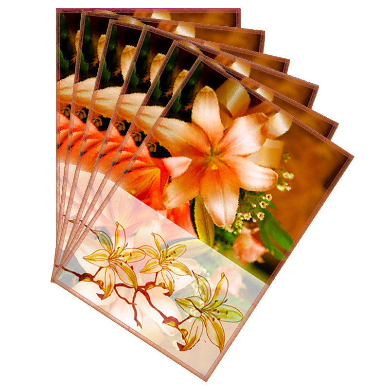 Leaf Designs Sketched Floral Peach Tones Table Mat - Set of 6