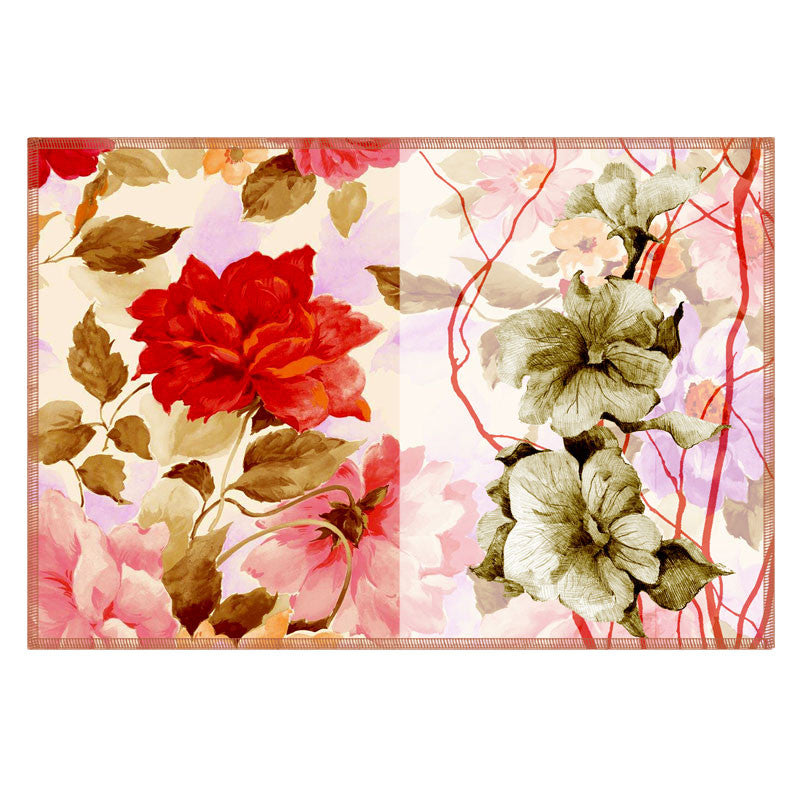 Leaf Designs Sketched Floral Red & Soft Pink Table Mat - Set of 6