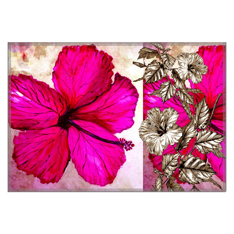 Leaf Designs Sketched Floral Hot Pink Table Mat - Set of 6