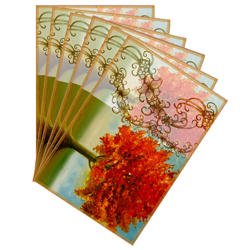 Leaf Designs Sketched Floral Orange & Peach Table Mat - Set of 6