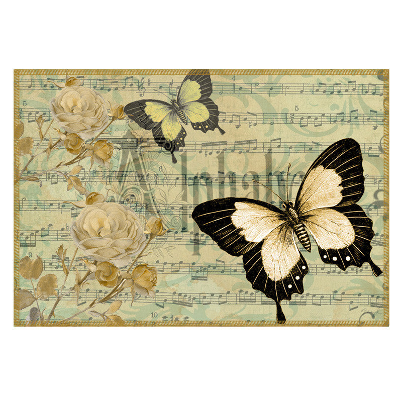 Butterfly & Floral Grey Table Mat - Set Of 6