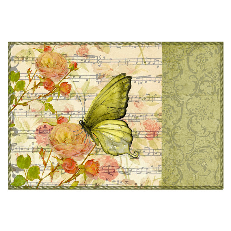 Butterfly & Floral Sap Green Table Mat - Set Of 6
