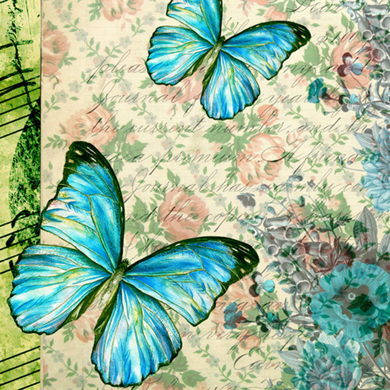 Butterfly & Floral Light Blue Table Mat - Set Of 6