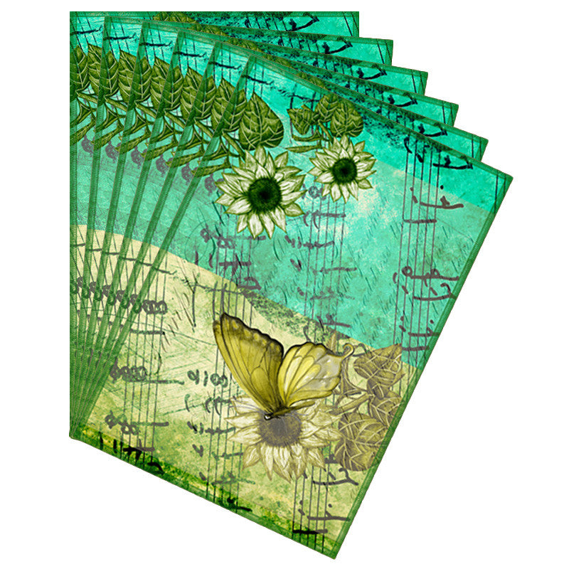 Butterfly & Floral Acqua Table Mat - Set Of 6