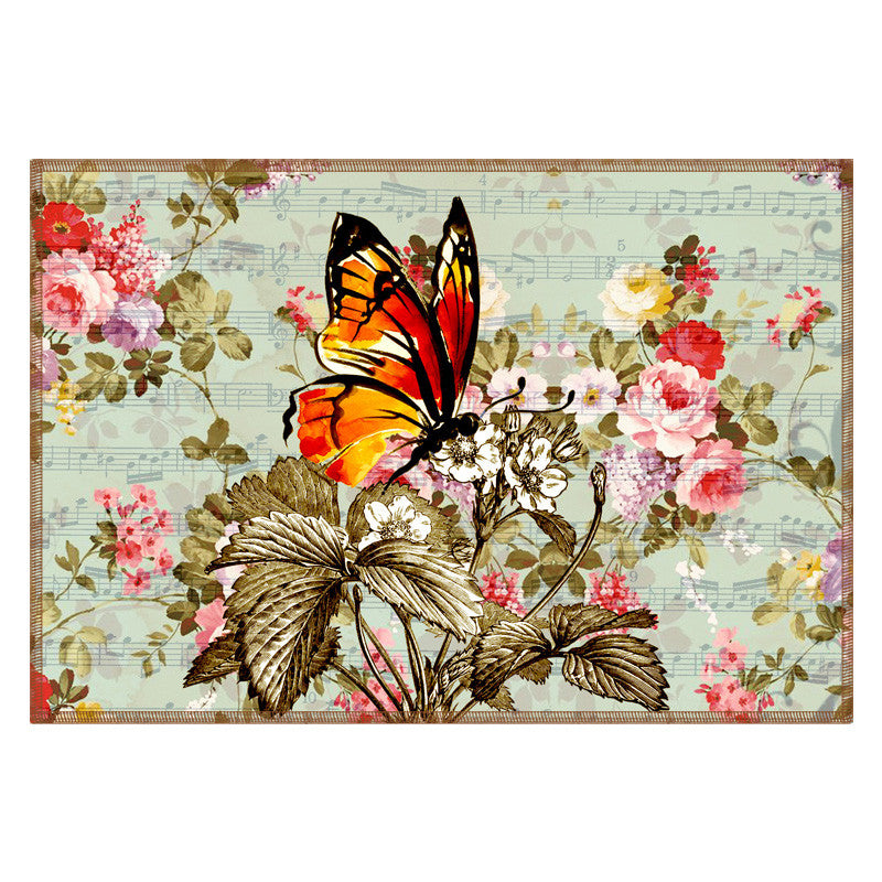 Butterfly & Floral Powder Blue Table Mat - Set Of 6