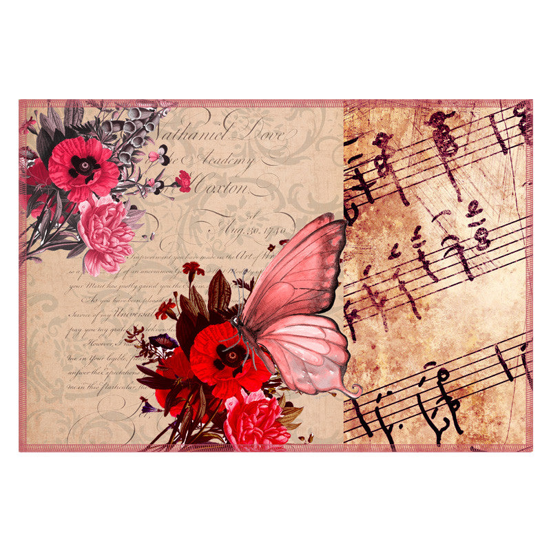 Butterfly & Floral Pink Table Mat - Set Of 6