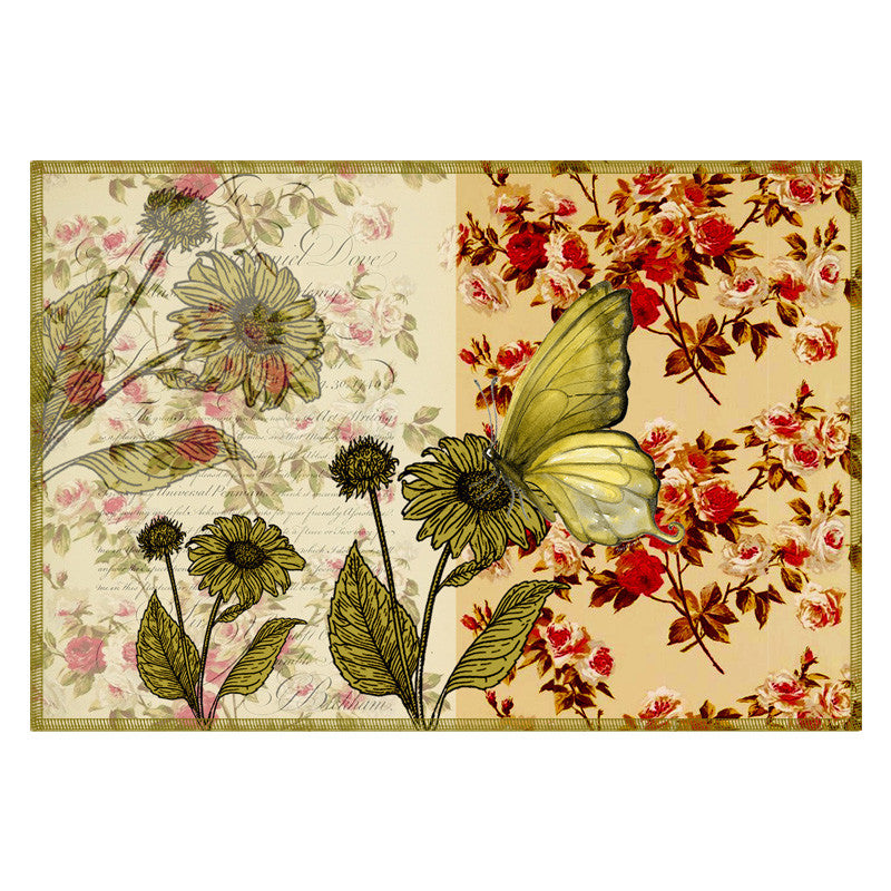 Butterfly & Floral Ivory Green Table Mat - Set Of 6