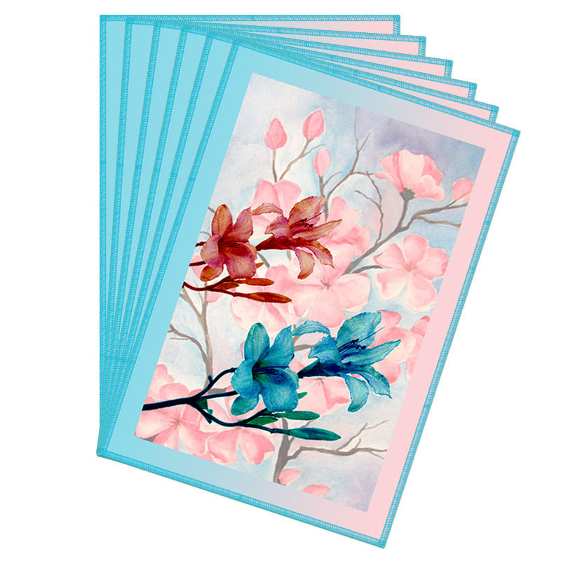 Floral & Blue Border Table Mat - Set Of 6