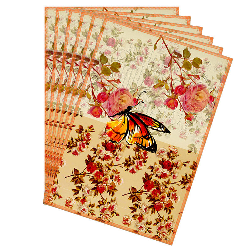 Butterfly & Floral Rust Table Mat - Set Of 6