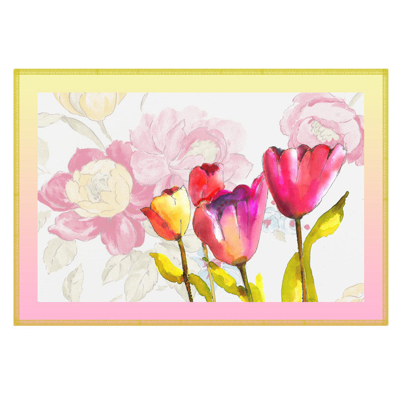 Floral & Pink Border Table Mat - Set Of 6
