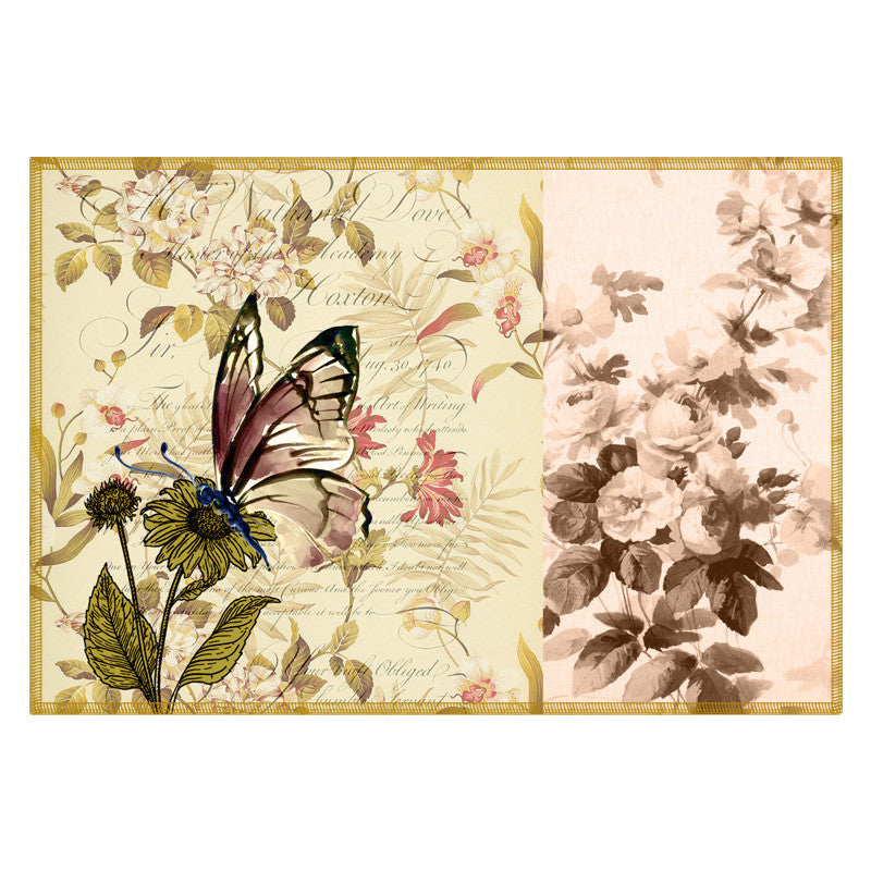 Butterfly & Floral Soft Pink Table Mat - Set Of 6