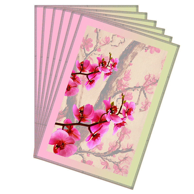 Floral & Pink Grey Border Table Mat - Set Of 6