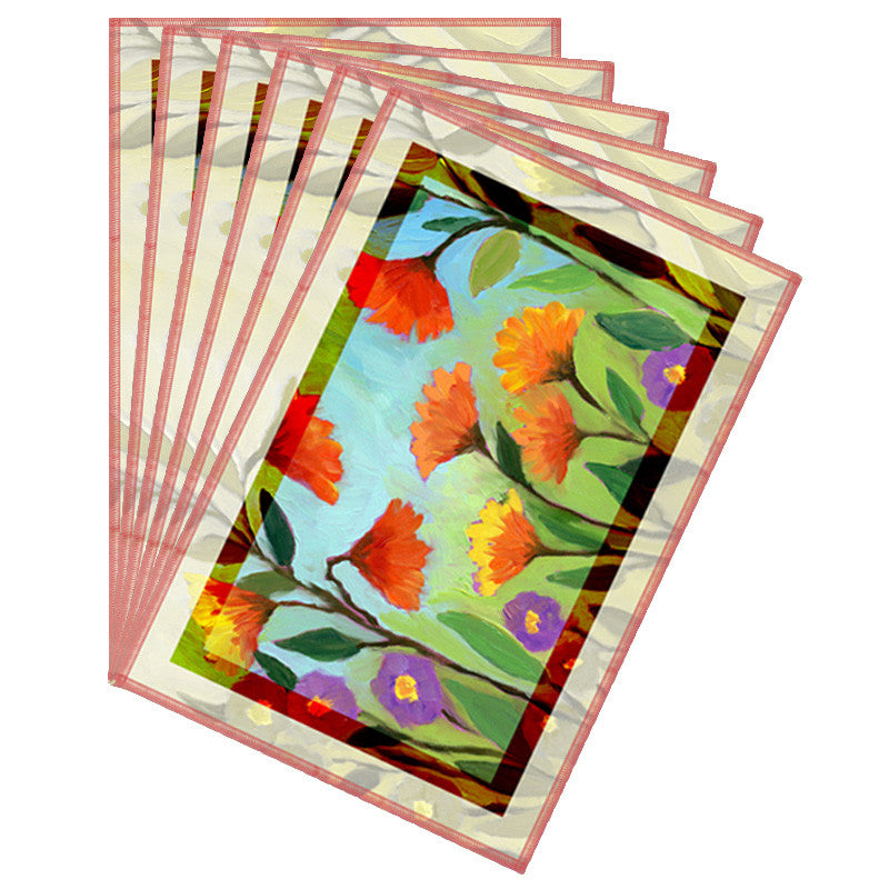 Floral Light Multicolor Border Table Mat - Set Of 6