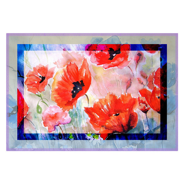 Floral Light Blue Border Table Mat - Set Of 6