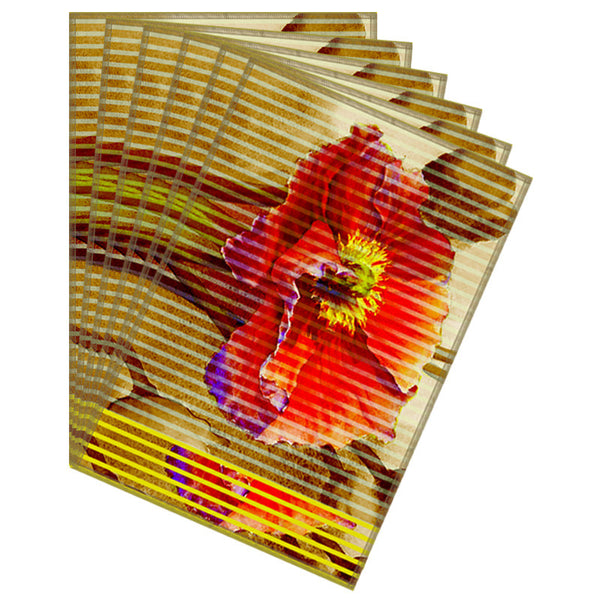 Leaf Designs Mustard Red Stripe & Floral Table Mat - Set of 6