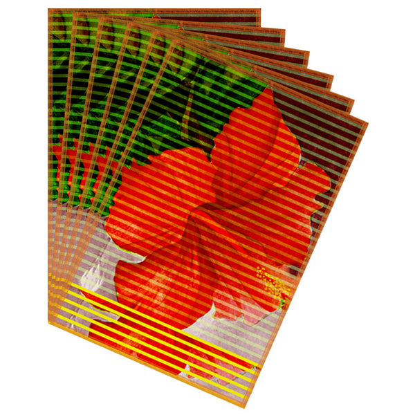 Leaf Designs Red Green Stripe & Floral Table Mat - Set of 6