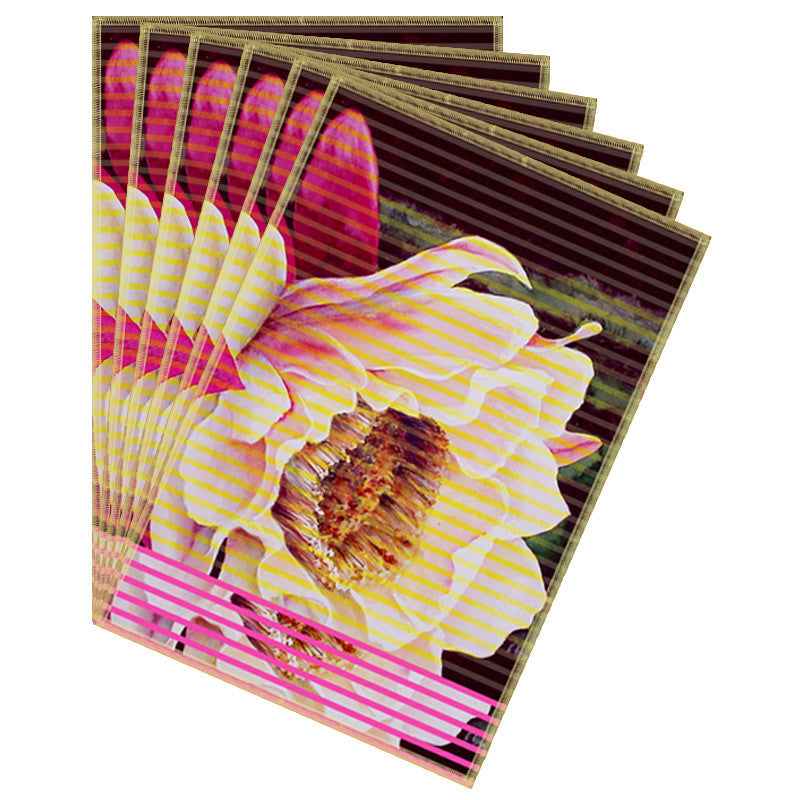 Leaf Designs Cream Stripe & Floral Table Mat - Set of 6