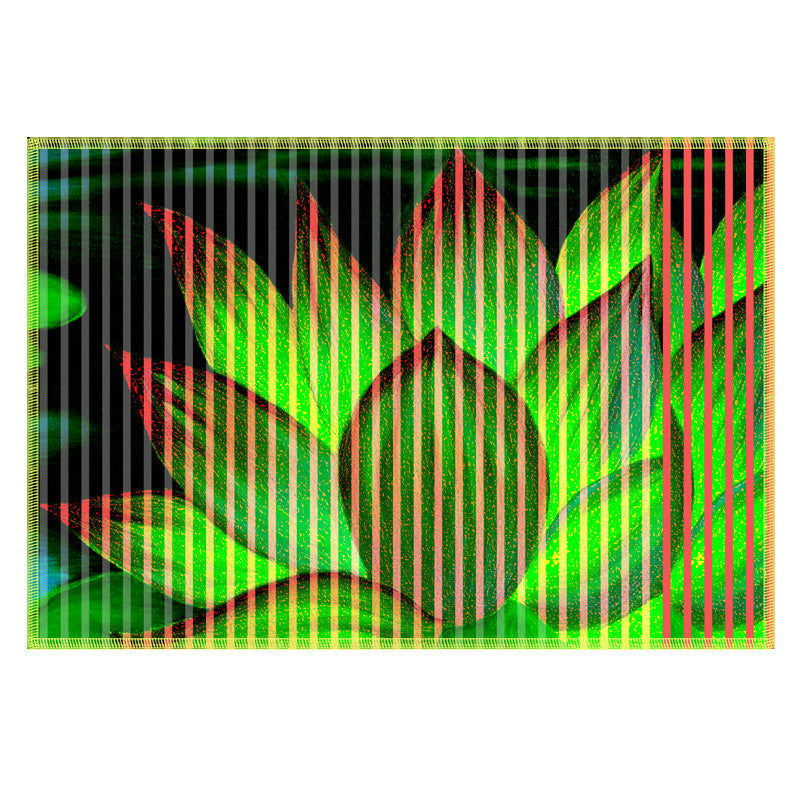 Leaf Designs Bright Green Stripe & Floral Table Mat - Set of 6