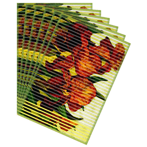 Leaf Designs Orange Yellow Stripe & Floral Table Mat - Set of 6
