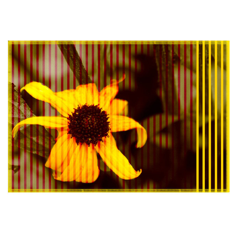 Leaf Designs Yellow Brown Stripe & Floral Table Mat - Set of 6