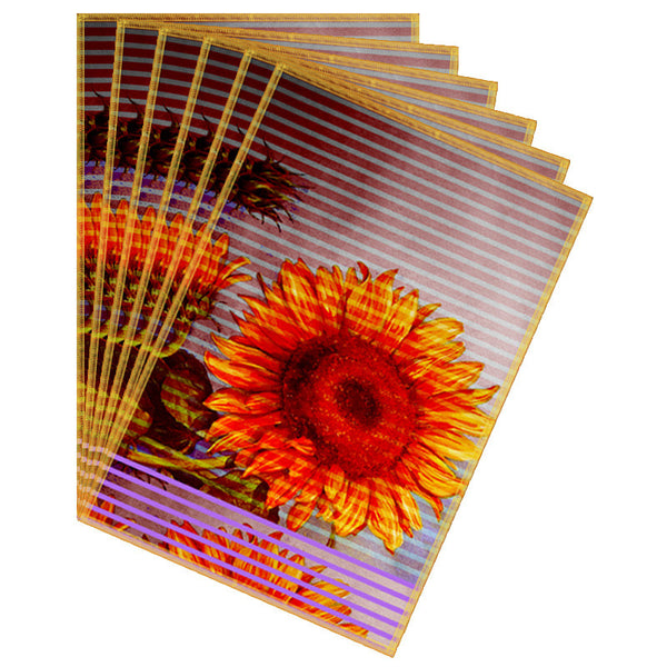 Leaf Designs Yellow Lilac Stripe & Floral Table Mat - Set of 6