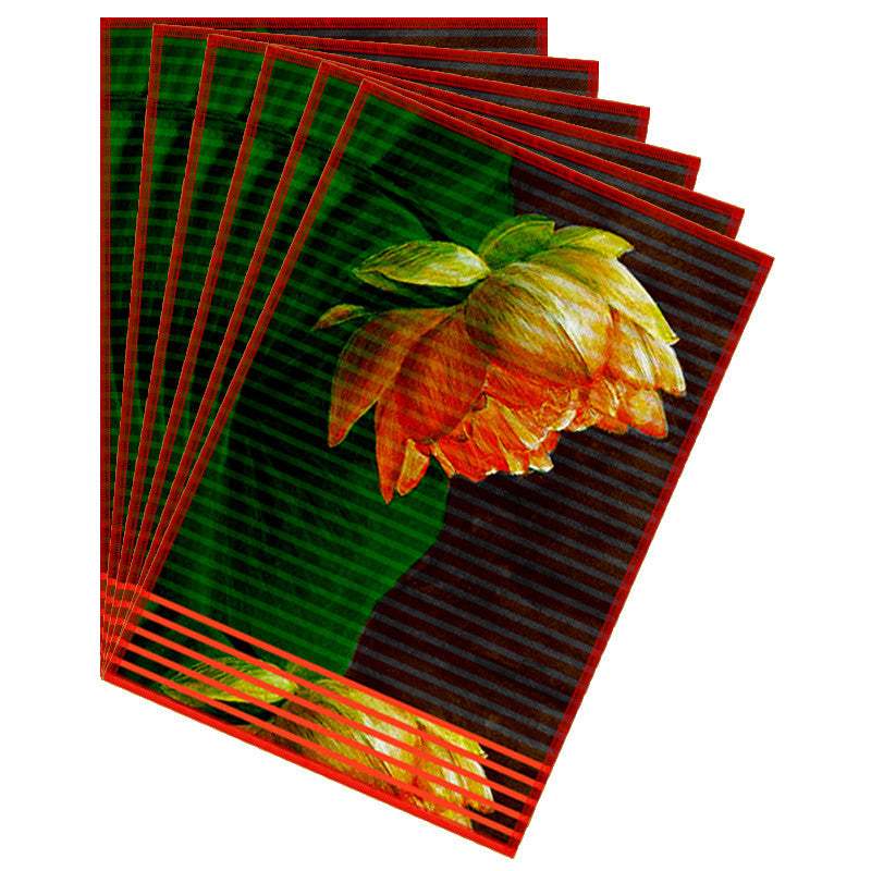 Leaf Designs Maroon Orange Stripe & Floral Table Mat - Set of 6