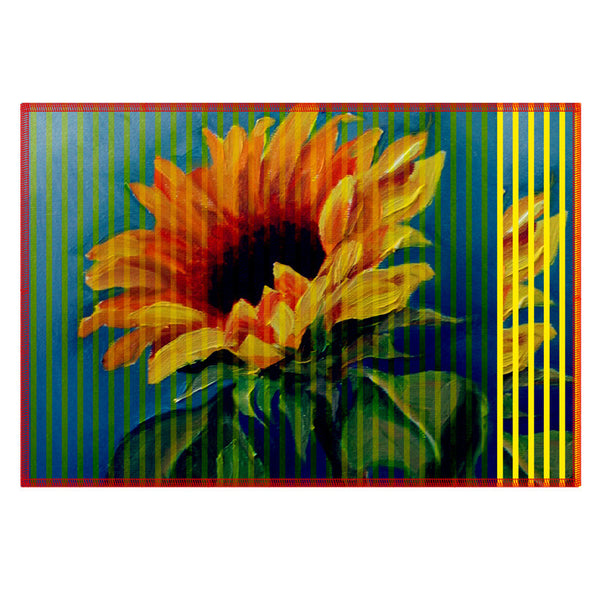 Leaf Designs Yellow Acqua Stripe & Floral Table Mat - Set of 6