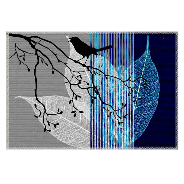 Leaf Designs Dark Blue Black Earth Flora Table Mats - Set Of 6