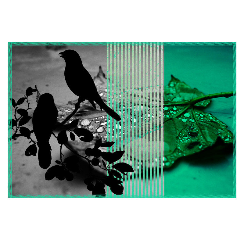 Leaf Designs Bright Green Black Earth Flora Table Mats - Set Of 6