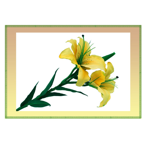 Leaf Designs Lemon Shaded Border Floral Table Mat - Set Of 6