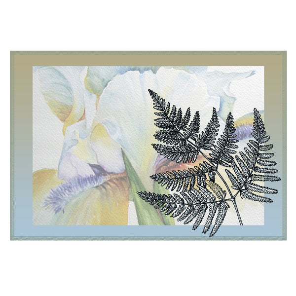 Leaf Designs Sky Shaded Border Floral Table Mat - Set Of 6