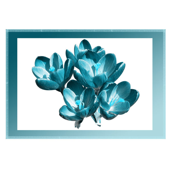 Leaf Designs Cerulean Shaded Border Floral Table Mat - Set Of 6