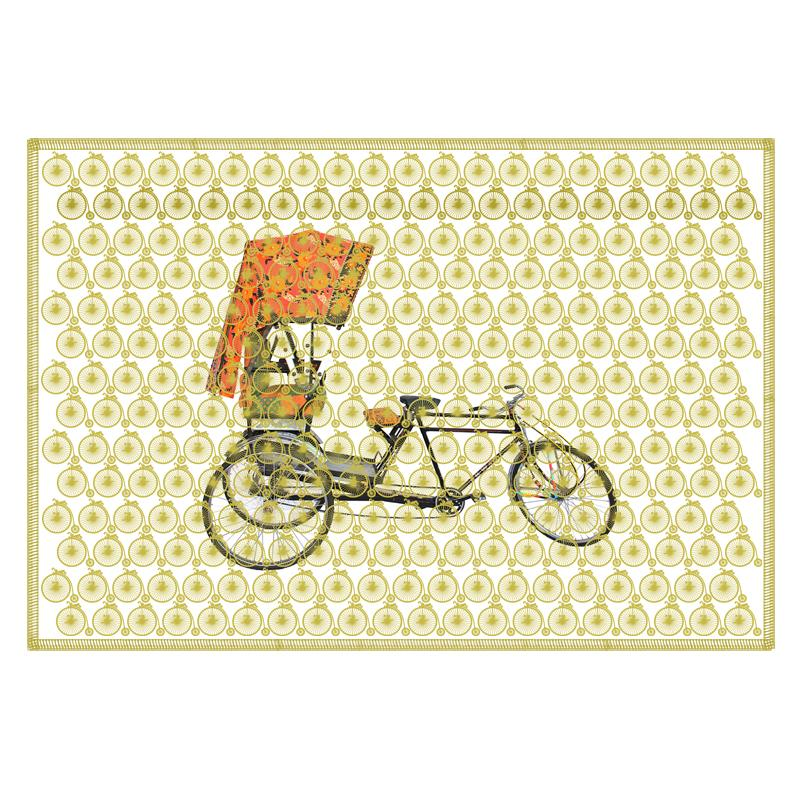 Leaf Designs Asparagus Green Vintage Rickshaw Table Mat - Set Of 6