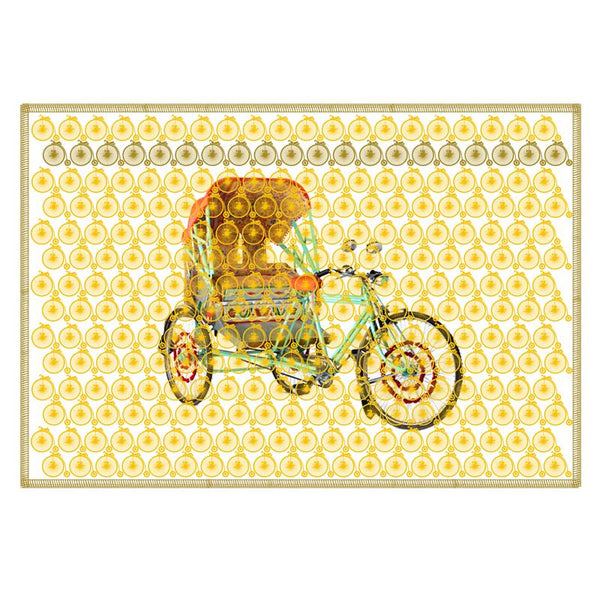 Leaf Designs Lemon Yellow Vintage Rickshaw Table Mat - Set Of 6