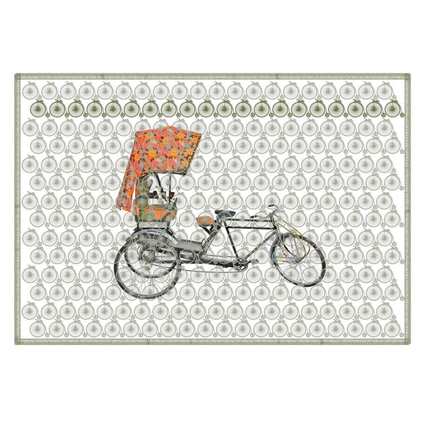 Leaf Designs Ash Green Vintage Rickshaw Table Mat - Set Of 6