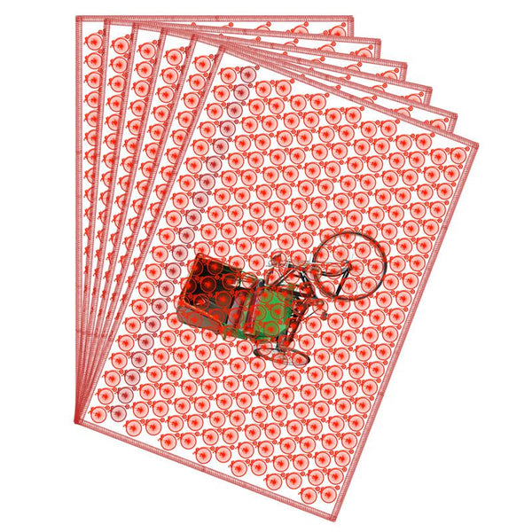 Leaf Designs Coral Red Vintage Rickshaw Table Mat - Set Of 6