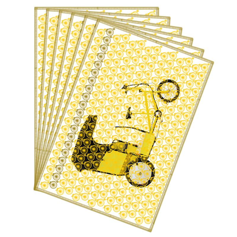 Leaf Designs Deep Lemon Vintage Rickshaw Table Mat - Set Of 6