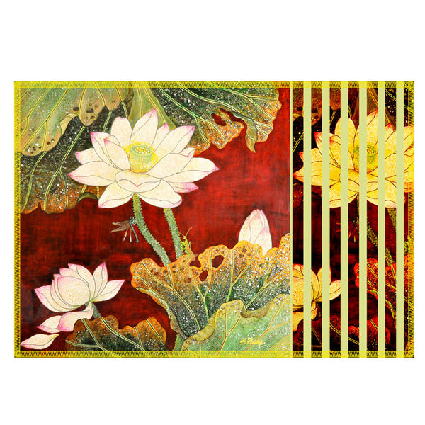 Leaf Designs Multicoloured Floral Fabric Table Mat - Set Of 6
