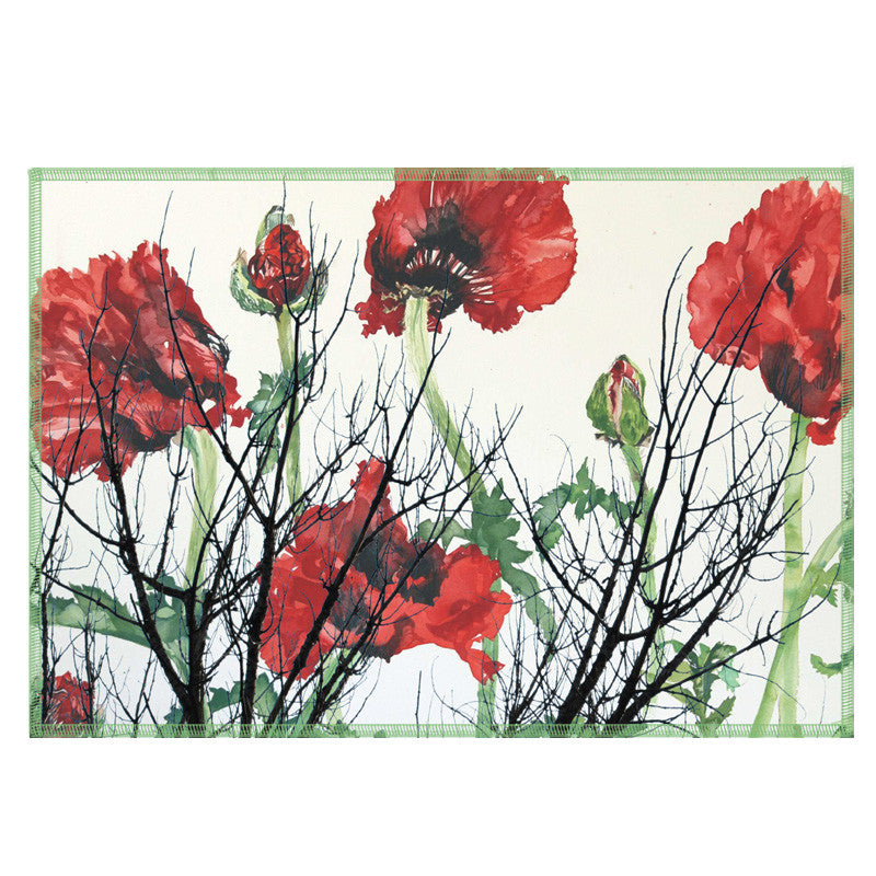Leaf Designs Red & Green Floral Fabric Table Mats - Set Of 6