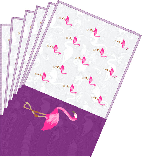 Leaf Designs Pink & Dark Purple Flamingo Table Mats - Set of 6