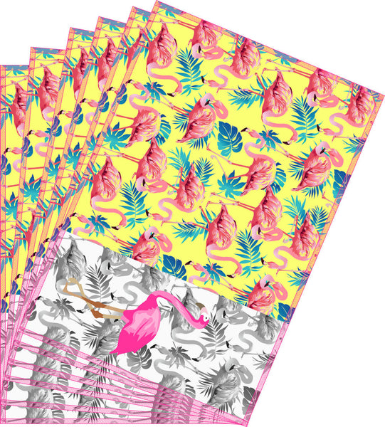 Leaf Designs Pink & Yellow Flamingo Table Mats - Set of 6