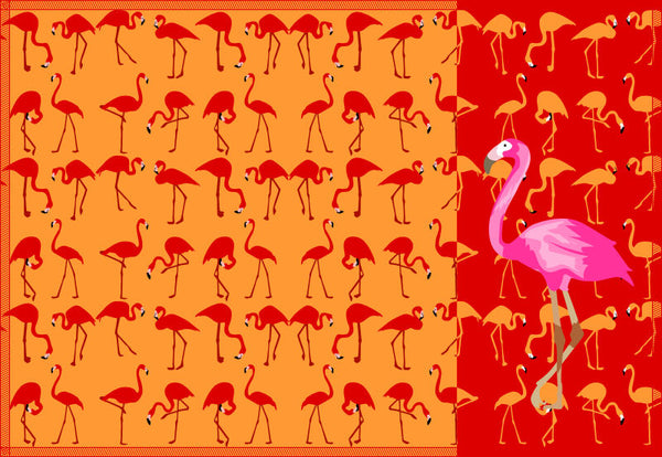 Leaf Designs Pink & Orange Flamingo Table Mats - Set of 6