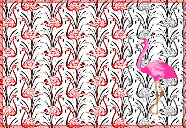 Leaf Designs Pink Grey & Red Flamingo Table Mats - Set of 6
