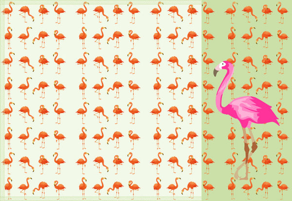 Leaf Designs Pink & Light Green Flamingo Table Mats - Set of 6