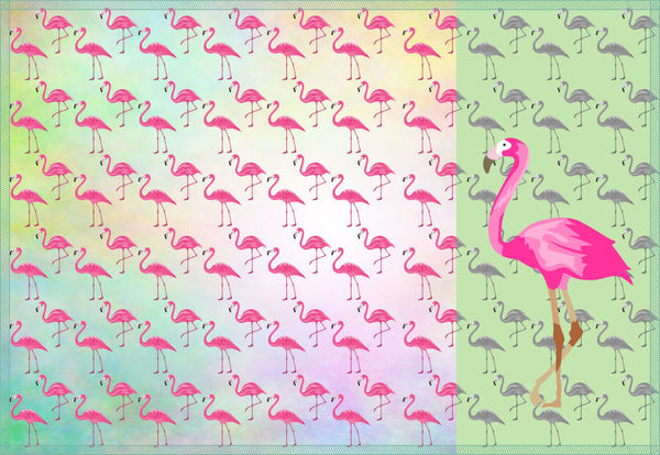 Leaf Designs Pink Green & Lemon Flamingo Table Mats - Set of 6