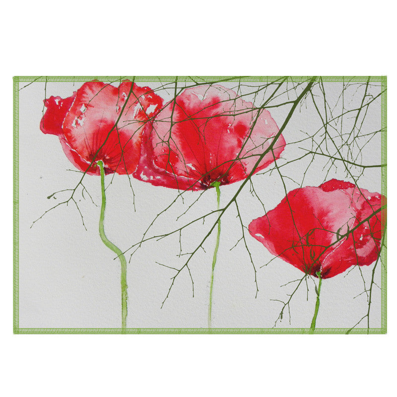 Leaf Designs Red Floral Fabric Table Mats - Set Of 6